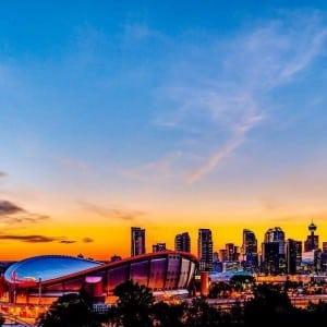 Calgary Downtown Skyline Sundown