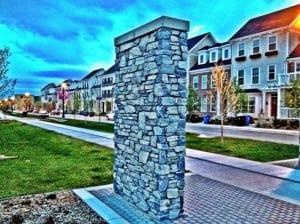 Currie Barracks inner city Calgary community stone pillar