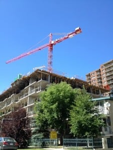 Condo crane in downtown Calgary