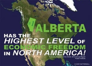 Alberta Highest Economic Freedom North America 2012 Infographic