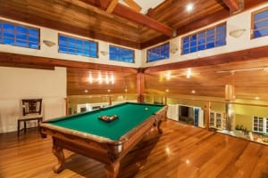 luxury home game room pool table interior