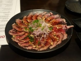 Oishii Sushi Beef Tataki menu entree riverbend Calgary