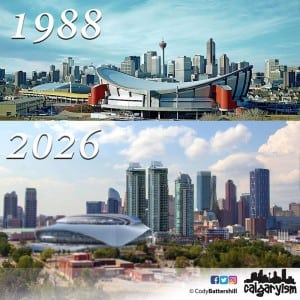 history of calgary infographic downtown skyline 1988 2026