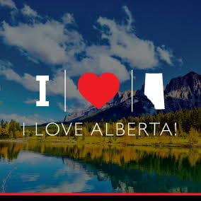 i love alberta graphic mountain background