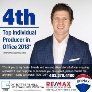 Cody Battershill top REMAX Real Estate Agent in Calgary, Alberta