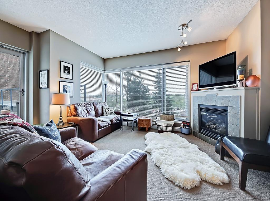 five west condo for sale liviing room fireplace view